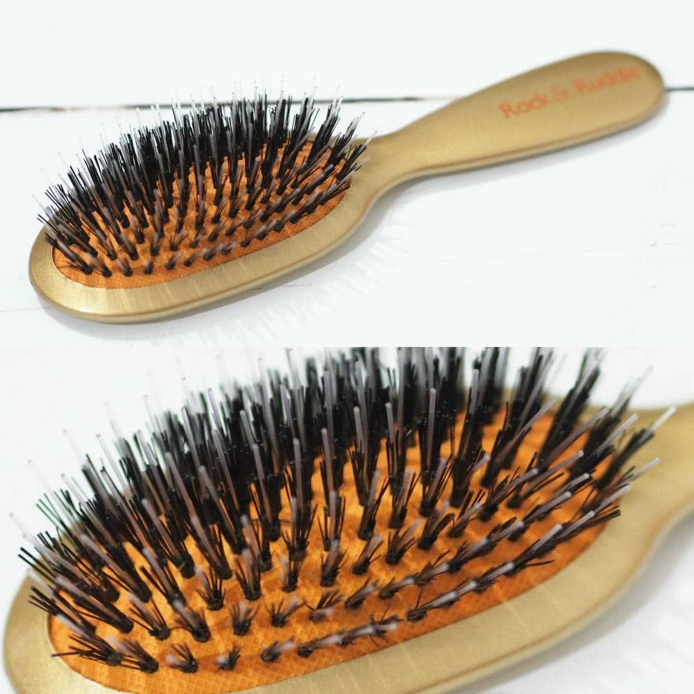 Rock and Ruddle Natural Bristle Hairbrushes - Leopard Brush and Gold Brush with natural bristles and nylon bristles