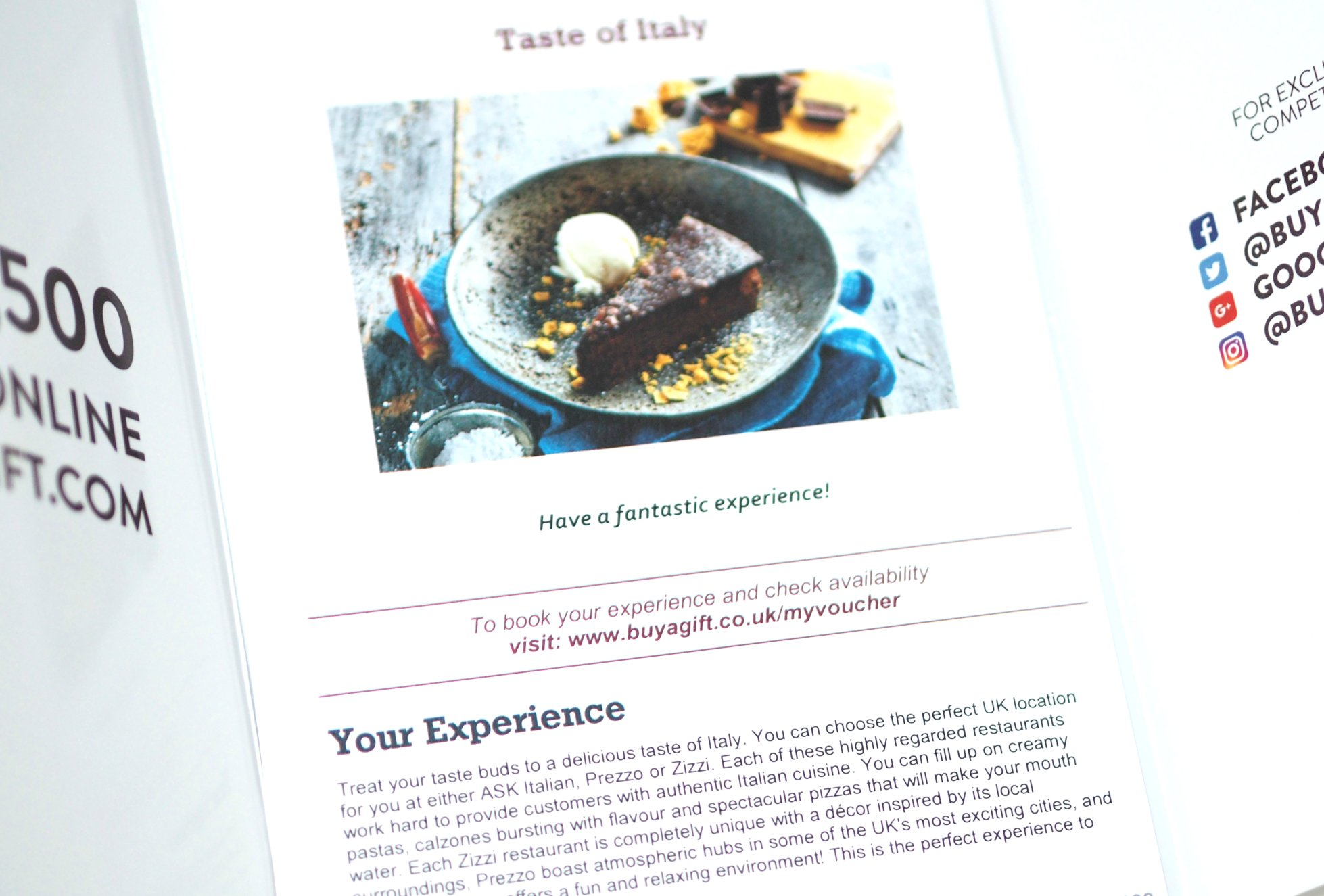 Valentine's Day Gift Guide 2019 - Taste of Italy Restaurant Voucher - The Gift Experience