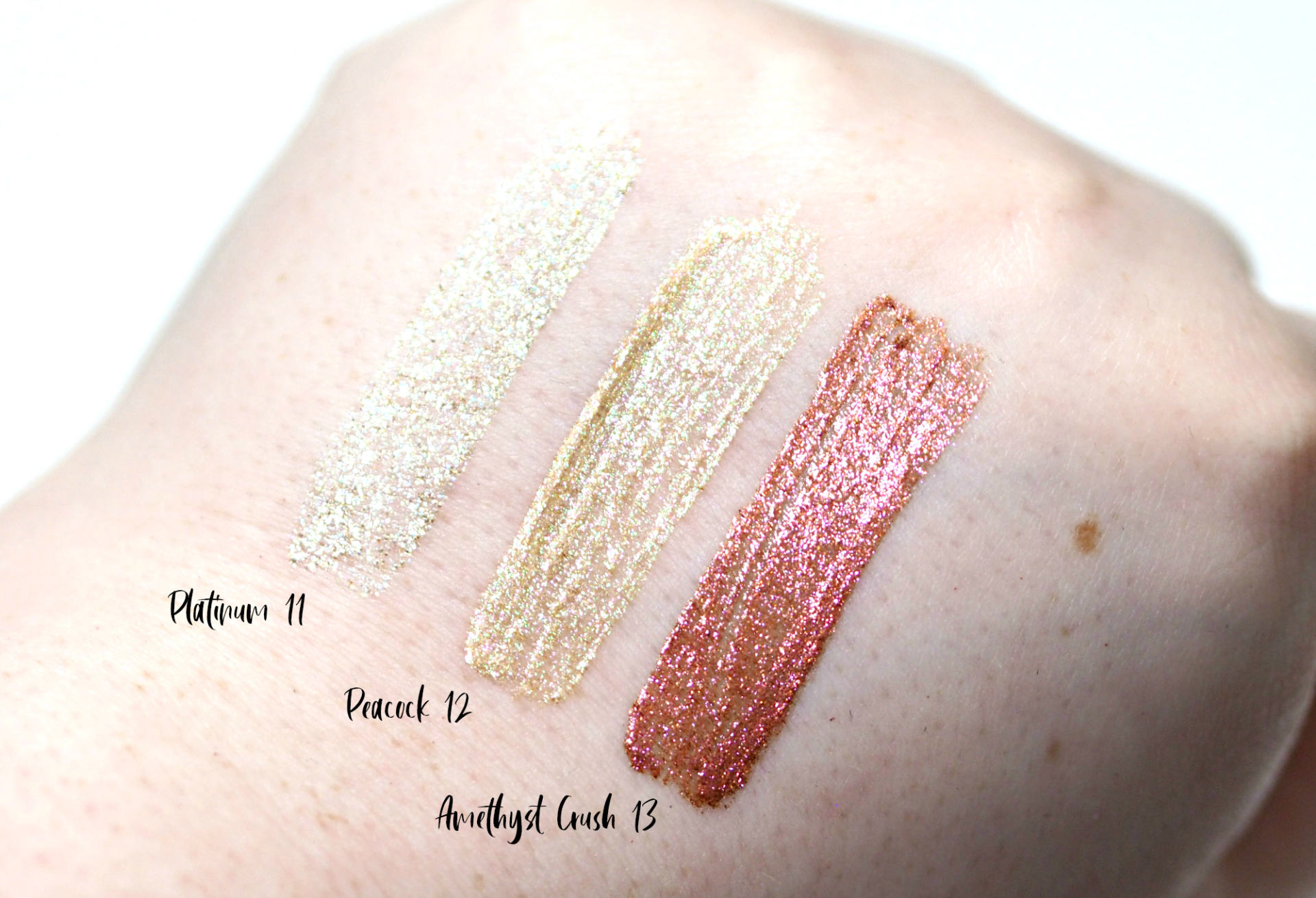 Swatches of the Platinum, Peacock and Amethyst Crush shades from AliExpress