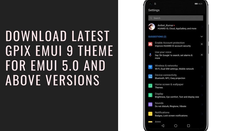 Download Latest GPix EMUI 9 Theme for EMUI 5.0 And Above Versions