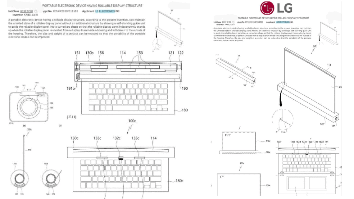 LG Files Patent For LG Rollable Laptop Display, Keyboard, and Webcam