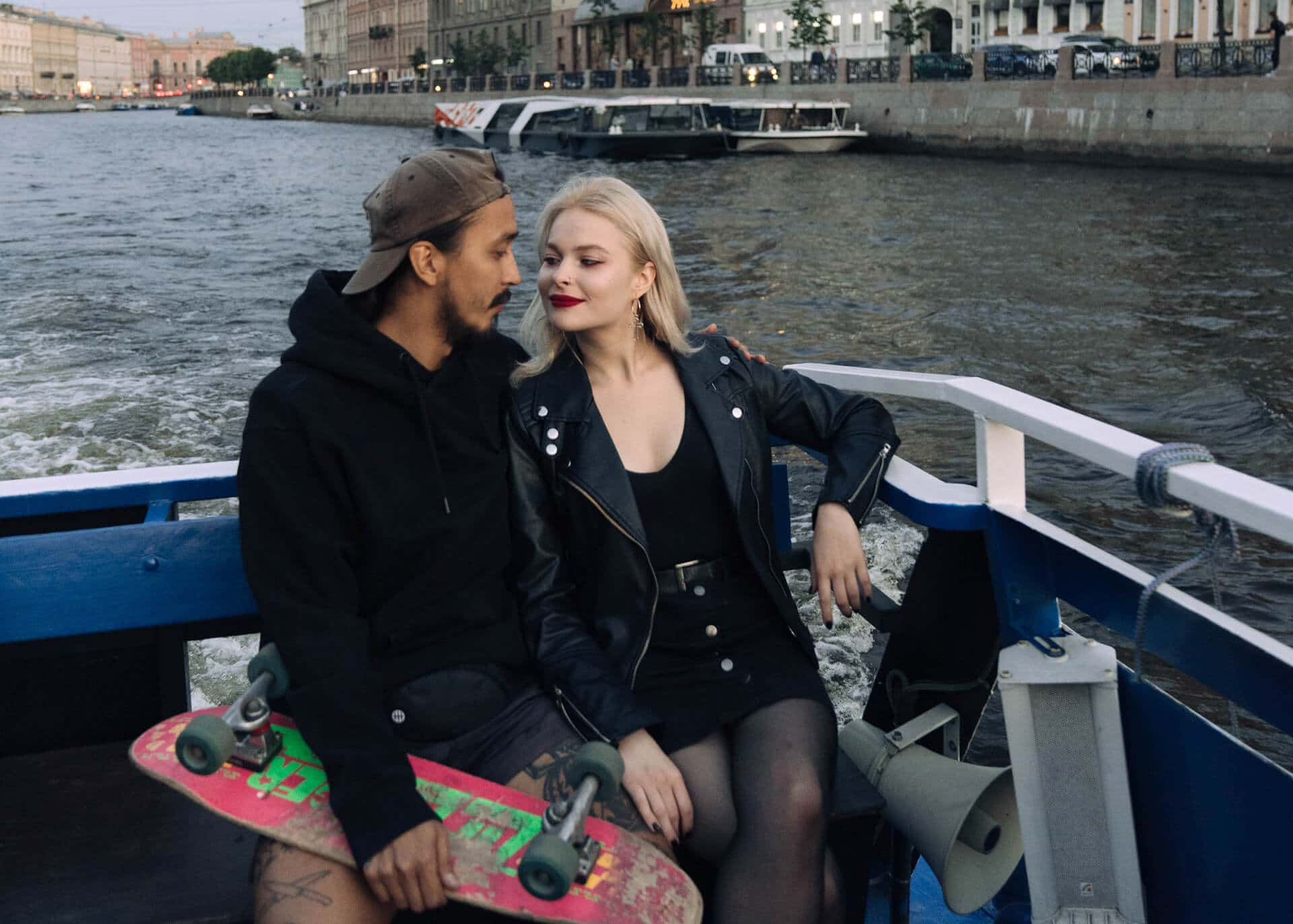 couple on third date on a boat