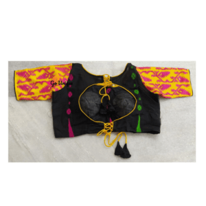 Black Yellow jamdani blouse front