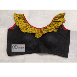Black Glossy Cotton With Yellow Ajrak Frill Blouse 2