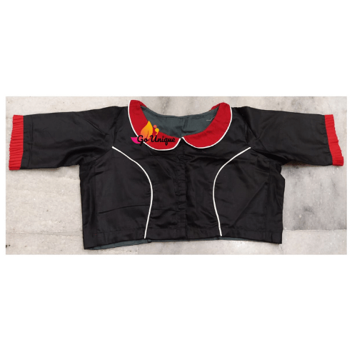 Black Cotton Silk Blouse Red Collar