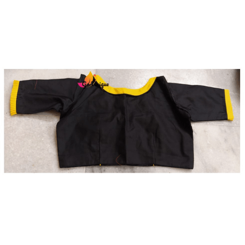 Black Cotton Silk Blouse Yellow Collar