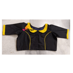 Black Cotton Silk Blouse Yellow Collar Front