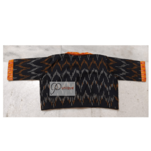 Black Ikkat Blouse With Orange Back
