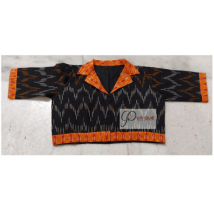 Black Ikkat Blouse With Orange Front