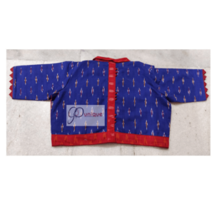 Blue Red Ikkat Blouse With Collar Back