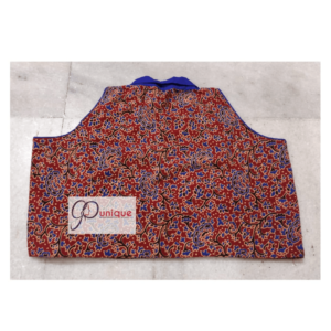 Brown Blue Combination Ajrak Blouse Sleeveless With Collar Back