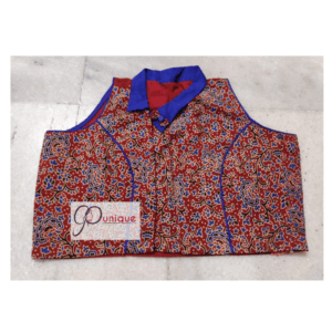 Brown Blue Combination Ajrak Blouse Sleeveless Collar