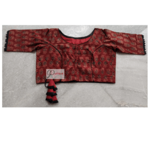 Brown Ajrak Flower Criss Cross Blouse