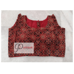 Brown Black Sleeveless Ajrak Blouse 1