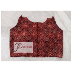 Brown Black Sleeveless Ajrak Blouse Front