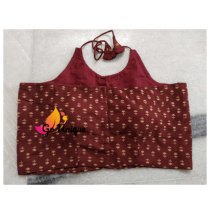 Brown Sleeveless Ajrak With Neck Lace Back