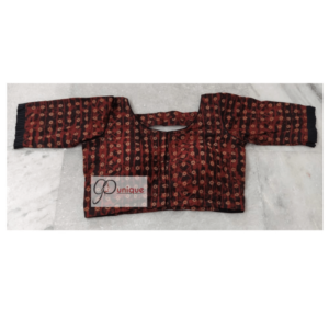 Brown Yellow Ajrak Blouse With Back Open Front