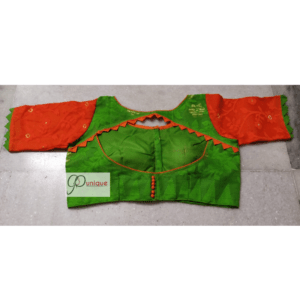 Green Jamdani With Orange Sleeve 1