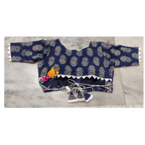 Nevi Blue Ajrak Blouse With Lace Back