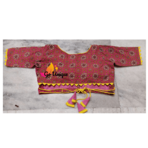 Pink Ajrak Blouse With Lace Back