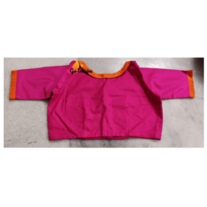 Pink Cotton Silk Blouse Orange Collar