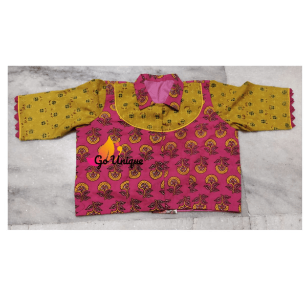 Pink Yellow Ajrak Blouse With Collar Front