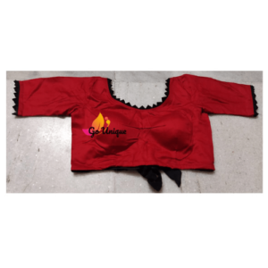 Red Glossy Cotton Blouse With Black Lace Front