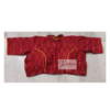 Red Ikkat Blouse With Back Yellow Criss Cross Front