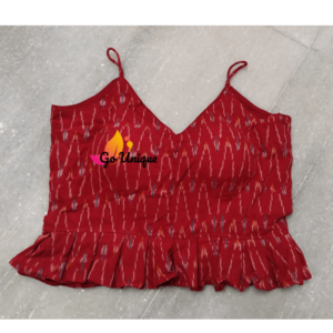 Red Sleeveless Ikkat Croptop
