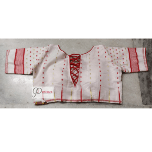 White Jamdani Blouse With Red White Sleeves Back Open 1