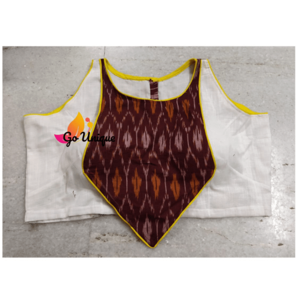 White Khadi Wth Brown Ikkat Sleeveless
