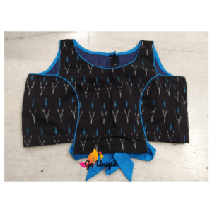Black Ikkat Blue Lace Blouse 2