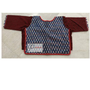 Blue Brown Ajrak Croptop 1
