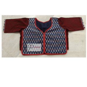 Blue Brown Ajrak Croptop 2