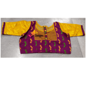 Purple Jamdani With Yellow Sleeves 1