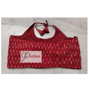Red Ikkat Sleeveless Blouse With White Dot Back