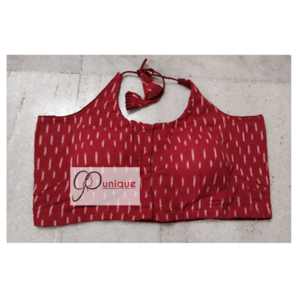 Red Ikkat Sleeveless Blouse With White Dot Front