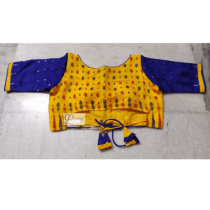 Yellow Jamdani With Blue Sleeve 2