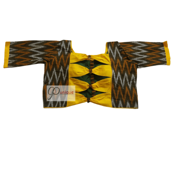 Black Ikkat Body With Yellow Cotton Bow And Frill