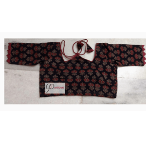 Black Ajrak With Red Flower W Neck