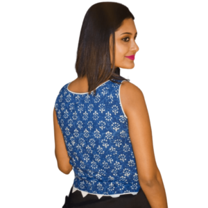 Blue Ajrak Flower Motive Sleeveless Blouse 2