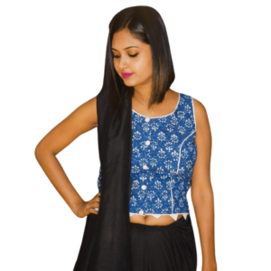 Blue Ajrak Flower Motive Sleeveless Blouse 3