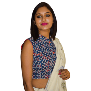 Blue Ajrak Sleeveless Blouse