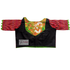 Khadi Jamdani Body And Red Ikkat Sleeves Blouse
