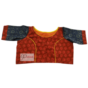 Orangisg Red Ajraj Body With Blue Sleeves Blouse