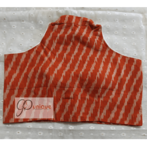 Peach Red Ikkat With White Work Sleeveless Blouse 1