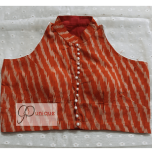 Peach Red Ikkat With White Work Sleeveless Blouse 2 (1)