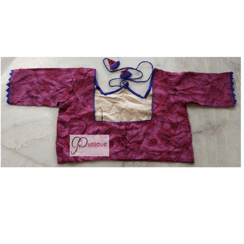 Pink Ajrak With Blue Pip;ing And Frill W Neck 1