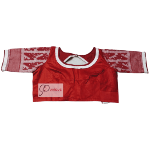 Red Glossy Cotton Body With Red White Jamdani Sleeves 1