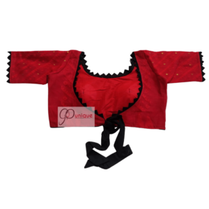 Red Jamdani With Black Lace And Frill Blouse 2